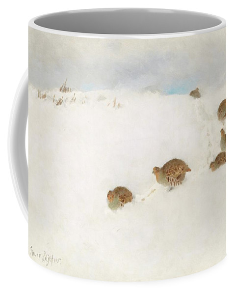 Bruno Liljefors Coffee Mug featuring the digital art Partridges In Snow by Mark Carlson