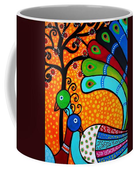 Peacock Coffee Mug featuring the painting 2 Peacocks by Pristine Cartera Turkus