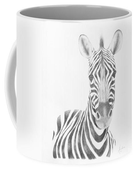 Wildlife Coffee Mug featuring the drawing Plains Zebra by Andrea Angulo