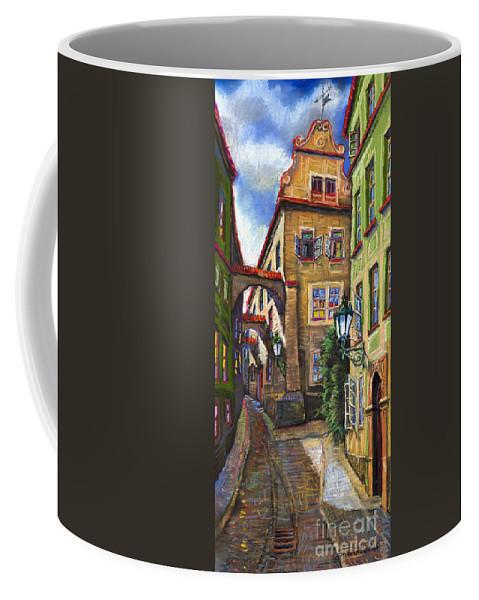 Prague Coffee Mug featuring the painting Prague Old Street by Yuriy Shevchuk