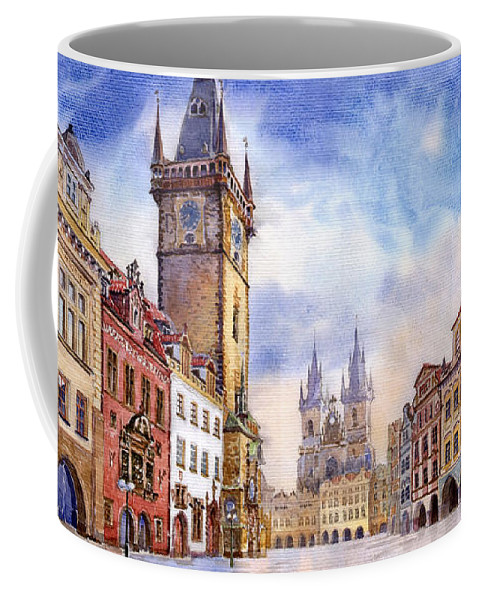 Watercolour Coffee Mug featuring the painting Prague Old Town Square by Yuriy Shevchuk