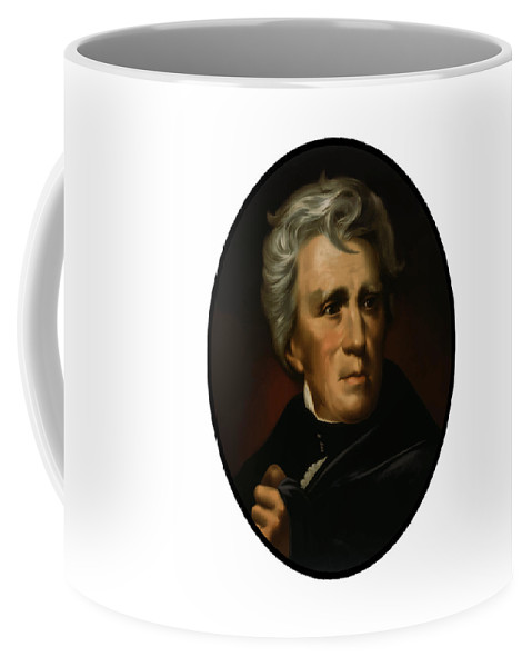 Andrew Jackson Coffee Mug featuring the painting President Andrew Jackson - Four by War Is Hell Store