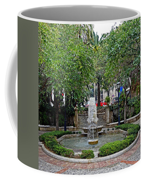 Public Fountain Coffee Mug featuring the photograph Public Fountain And Gardens In Palma Majorca Spain by Richard Rosenshein