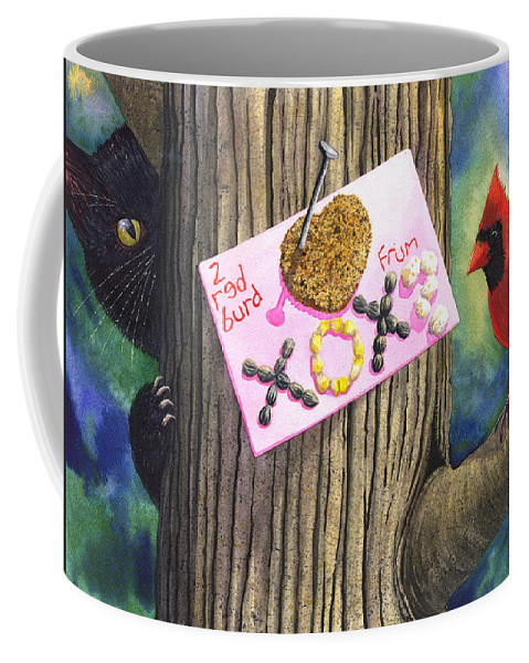 Cardinal Coffee Mug featuring the painting 2 Red Burd by Catherine G McElroy
