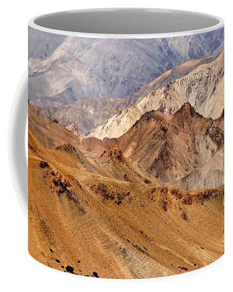 Orange Coffee Mug featuring the photograph Rocks And Stones Mountains Ladakh Landscape Leh Jammu Kashmir India by Rudra Narayan Mitra