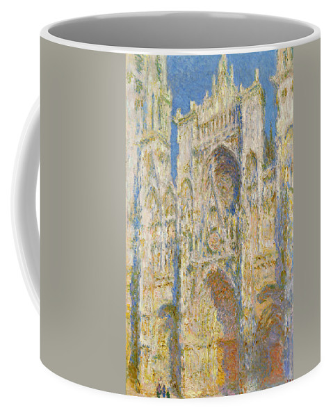 Architectural Coffee Mug featuring the painting Rouen Cathedral, West Facade, Sunlight by Claude Monet