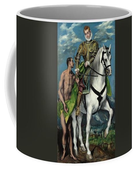 Bishop Of Tours Coffee Mug featuring the painting Saint Martin And The Beggar by El Greco