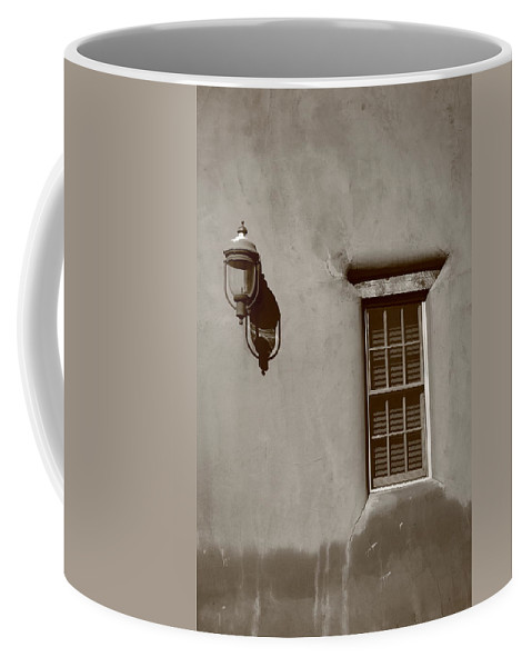 Adobe Coffee Mug featuring the photograph Santa Fe - Adobe Window And Light by Frank Romeo