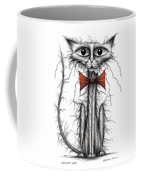 Skinny Cat Coffee Mug featuring the drawing Skinny Cat by Keith Mills