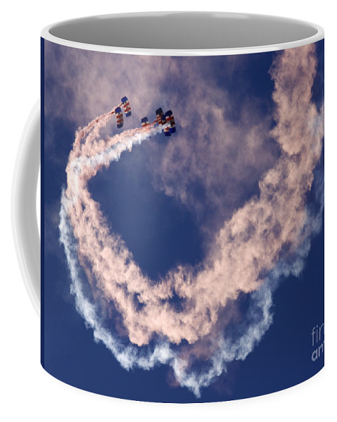 Raf Falcons Coffee Mug featuring the photograph Skydivers by Angel Ciesniarska