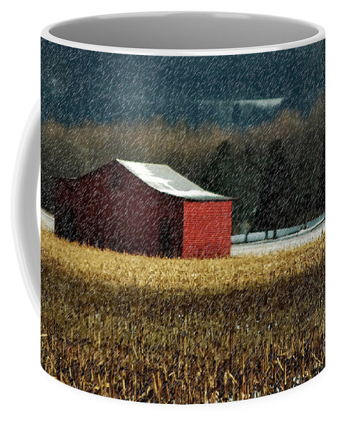 Barn Coffee Mug featuring the photograph Snowy Red Barn In Winter by Lois Bryan