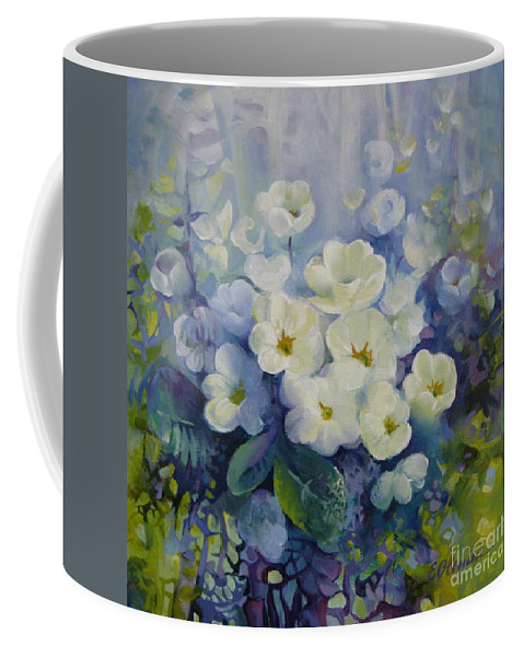 Primrose Coffee Mug featuring the painting Spring by Elena Oleniuc