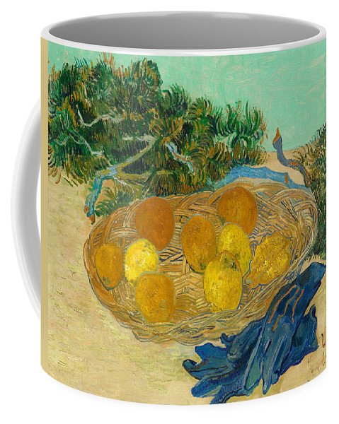 Painting Coffee Mug featuring the painting Still Life Of Oranges And Lemons With Blue Gloves by Mountain Dreams