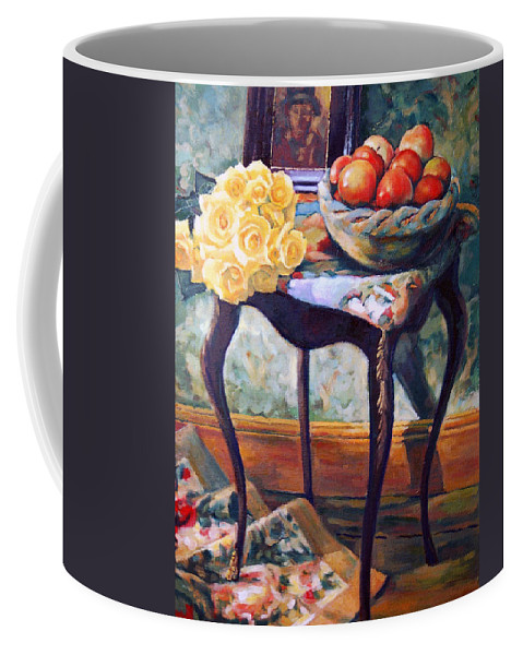 Still Life Coffee Mug featuring the painting Still Life With Roses by Iliyan Bozhanov