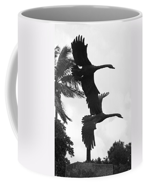 Black And White Coffee Mug featuring the photograph Stone Birds by Rob Hans