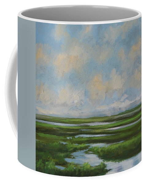 Summer Coffee Mug featuring the painting Summer Marsh by Guy Crittenden