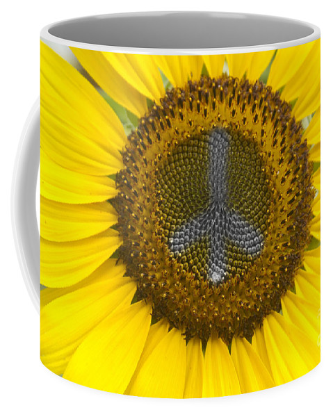 Peace Sign Coffee Mug featuring the photograph Sunflower Peace Sign by James BO Insogna