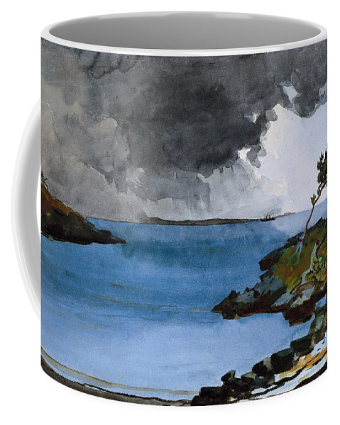 Winslow Homer Coffee Mug featuring the drawing The Coming Storm by Winslow Homer
