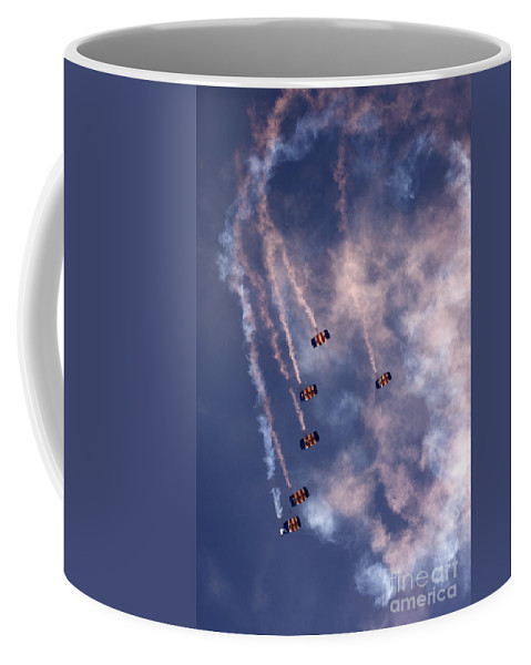 Raf Falcons Coffee Mug featuring the photograph Together We Fall by Angel Ciesniarska