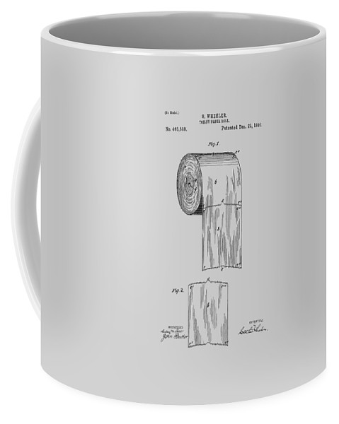 Toilet Paper Coffee Mug featuring the photograph Toilet Paper Roll Patent 1891 by Chris Smith