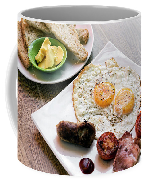 Bacon Coffee Mug featuring the photograph Traditional English British Fried Breakfast With Eggs Bacon And by Jacek Malipan