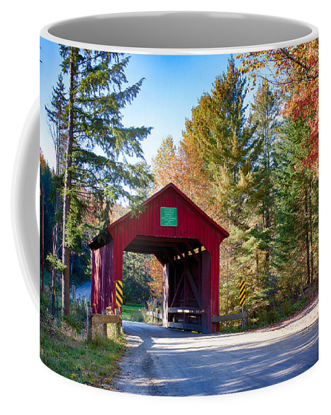Autumn Coffee Mug featuring the photograph Vermonts Moseley Covered Bridge by Jeff Folger