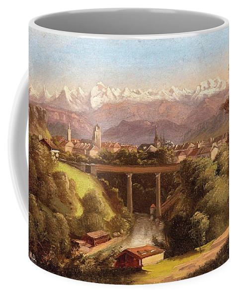 Hubert Sattler (vienna 1817-1904 Vienna) Views Of Bern And The Bernese Oberland Coffee Mug featuring the painting views of Bern and the Bernese Oberland by Hubert Sattler
