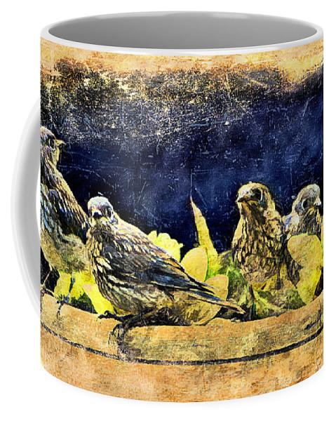 Bluebird Coffee Mug featuring the digital art Vintage Bluebird Print by Tina LeCour