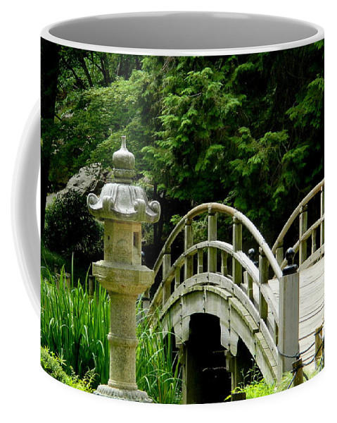 Japanese Bridge Coffee Mug featuring the photograph Virginia Bridges -japanese Garden by Arlane Crump