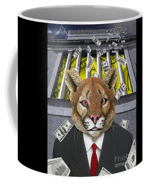 Digital Art.encomomy Digital Art Coffee Mug featuring the digital art Wall Street Predator by Keith Dillon
