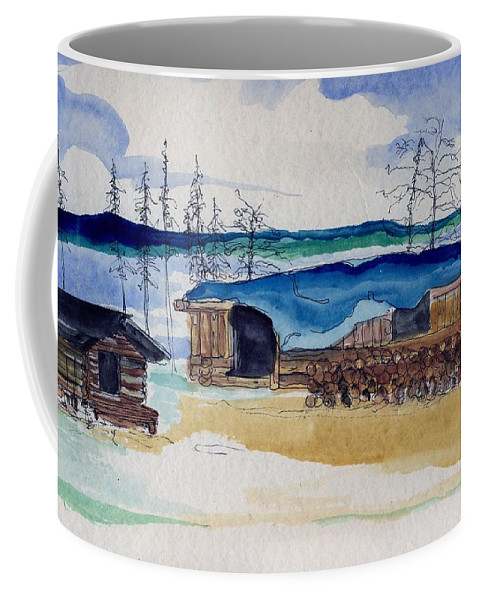 Sarah Hamilton Coffee Mug featuring the painting Wein Lake Sportsman's Lodge by Sarah Hamilton