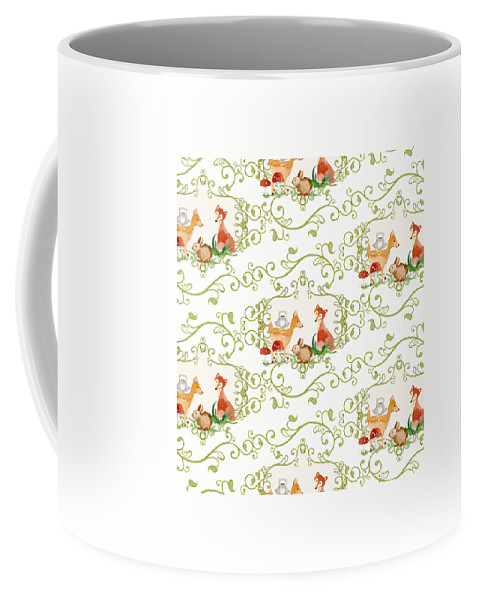 Woodchuck Coffee Mug featuring the painting Woodland Fairytale - Animals Deer Owl Fox Bunny N Mushrooms by Audrey Jeanne Roberts