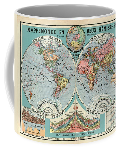 World Map Coffee Mug featuring the mixed media World Map In Two Hemispheres by Art Makes Happy