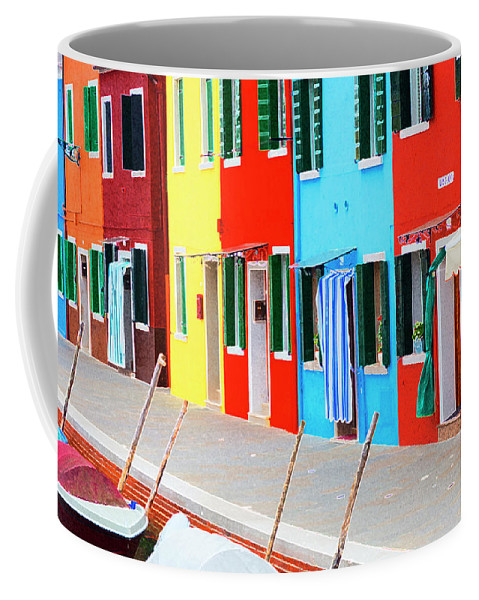 Burano Coffee Mug featuring the photograph Burano Anisland Of Multi Colored Homes On Canals North Of Venice Italy by Bruce Beck