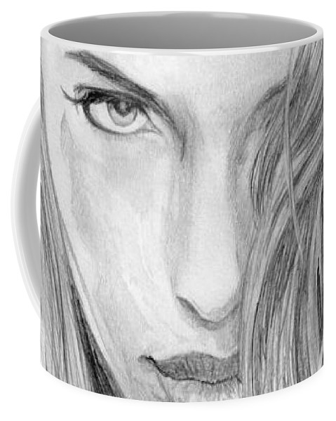 #angelina Coffee Mug featuring the drawing That Look by Kristopher VonKaufman