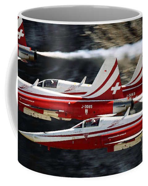 Patrouille Suisse Coffee Mug featuring the photograph Patrouille Suisse by Angel Ciesniarska