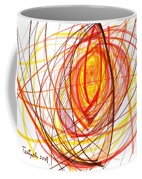 Abstract Coffee Mug featuring the drawing 2007 Abstract Drawing 8 by Lynne Taetzsch