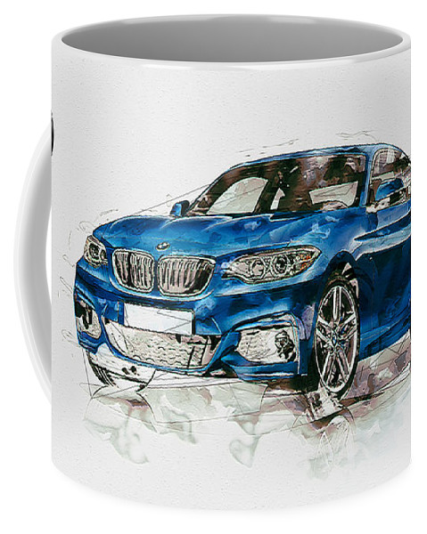 Wheels Of Fortune By Serge Averbukh Coffee Mug featuring the photograph 2014 B M W 2 Series Coupe With 3d Badge by Serge Averbukh