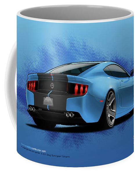 Cars Coffee Mug featuring the digital art 2014 Stang rear by Doug Schramm