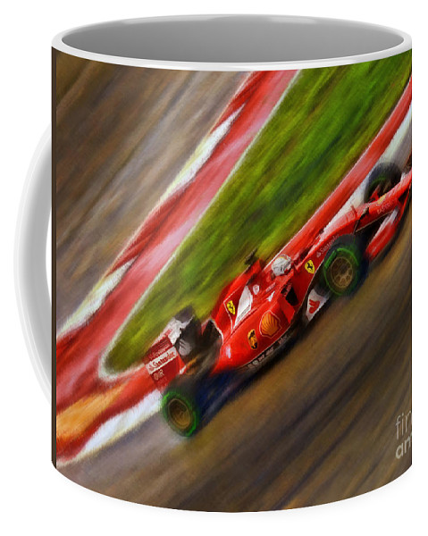 Sebastian Vettel Coffee Mug featuring the photograph 2015 Sebastian Vettel by Blake Richards