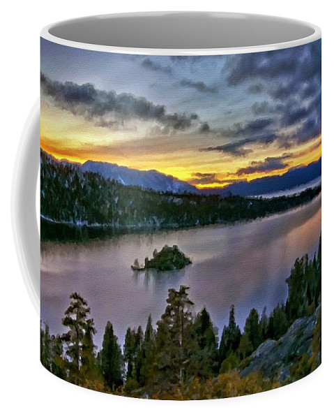 Landscape Coffee Mug featuring the digital art P W Landscape by Malinda Spaulding