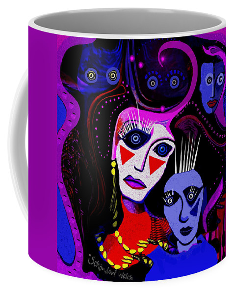215  Mother And Child Clowns A Coffee Mug featuring the painting 215  Mother And Child Clowns A by Irmgard Schoendorf Welch
