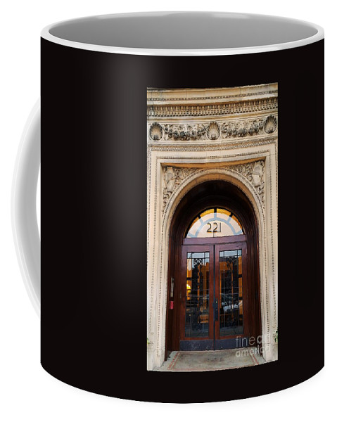 Arch Art Doorway Belle Epoque Architecture Reflections Elegant Doors Outdoors Expensive Vertical Vision Street Art Residence Entrance Boston New England Reflections Canvas Print Wood Print Metal Frame Poster Print Available On Phone Cases Tote Bags T Shirts And Mugs Coffee Mug featuring the photograph 221 Columbus Ave. Boston by Marcus Dagan