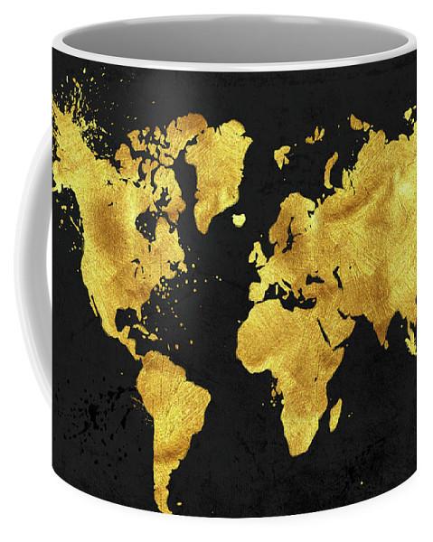 24 Karat World In Black Gold Metal World Map Coffee Mug For Sale By