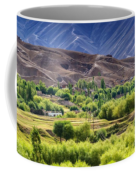 Landscape Coffee Mug featuring the photograph aerial view of Leh ladakh landscape Jammu and Kashmir India by Rudra Narayan Mitra