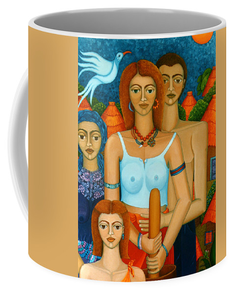 Ages Coffee Mug featuring the painting 3 Ages Of A Woman And A Man by Madalena Lobao-Tello