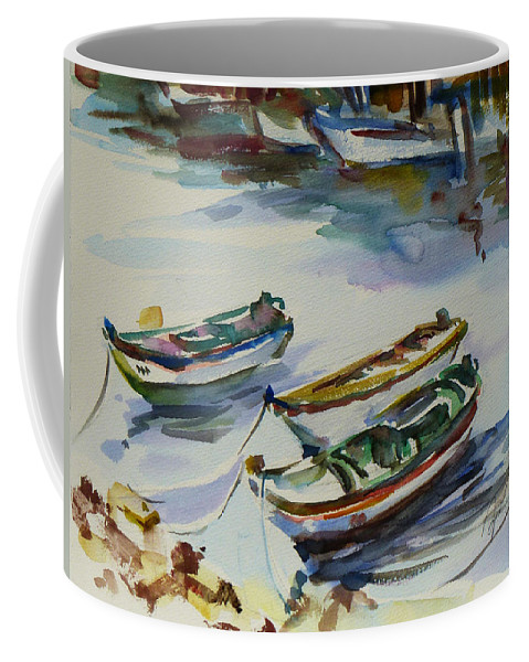 Landscape Coffee Mug featuring the painting 3 Boats I by Xueling Zou