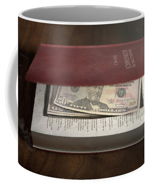 Dollar Coffee Mug featuring the digital art Concealed Notes In A Book by Allan Swart
