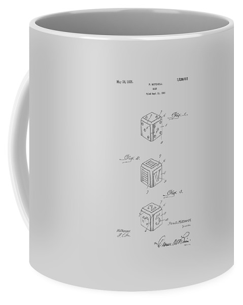 Dice Coffee Mug featuring the photograph Dice Patent From 1923 by Chris Smith