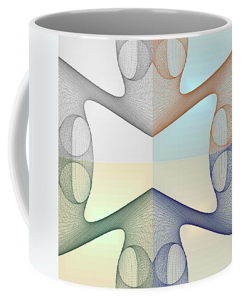 3d Coffee Mug featuring the digital art F S - Foursome Shapeallization by Nenad Cerovic